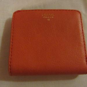 Fossil wallet, bifold, orange leather